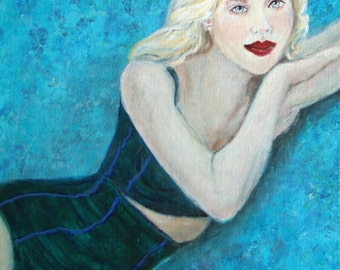 Original 8x10 1950's Inspired Female Portrait, Scarlett Johansson Inspired Home Decor, Turquoise, Blue, bathing suit, High Fashion, Swimming