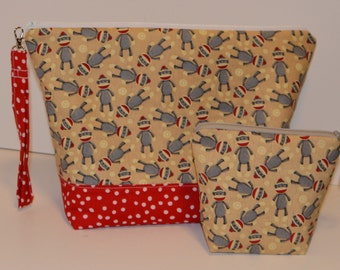 Sock monkeys with red gusset  project bag