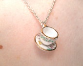 Mini ceramic tea cup necklace with Oriental Summer flower pattern