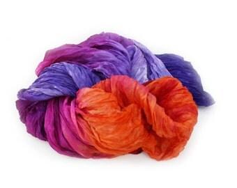 magenta silk scarf - Dolche Vita  -  purple, magenta, lavender, orange, pumpkin silk scarf.