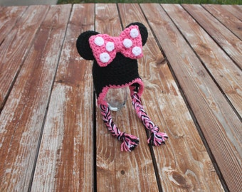 Crocheted Earflap Minnie Mouse Hat- Made to Order- Any Size