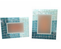Teal Ombre Mosaic Picture Frame, 4 x 6 or 5 x 7, Turquoise Home Decor