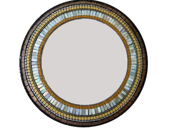 Mosaic Mirror // Round Wall Mirror // Brown And Mustard Yellow