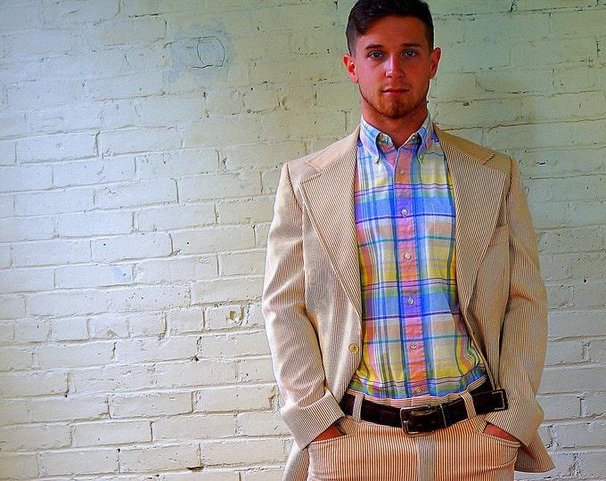 Pin Cord Suit 1960s Retro Gold White Stripe Beach Boys Suit Mens Vintage 2 Button Jacket 44 Flat Front Cuffed Pants 34 x 29.5 John Alexander