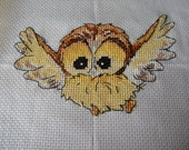 Owl completed Cross stitch picture. Woodland Animals. Nursery Picture. Hand stitched Baby shower gift,Nursey gift