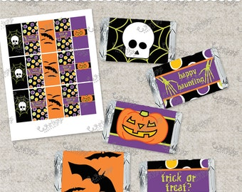 d.i.y. Mini Candy Bar Wrappers - INSTANT DOWNLOAD Printable .PDF file for a Halloween party or Halloween candy