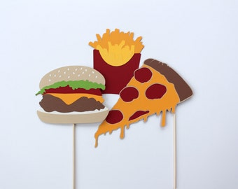 XL Fast Food Photobooth Prop Collection - Cheeseburger, French Fries, & Pizza