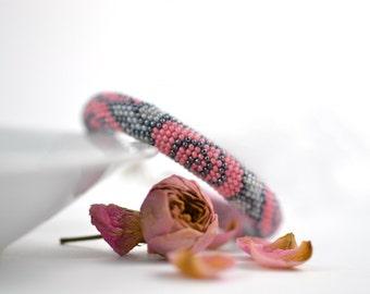 Dusty rose - Classic Bead Crochet Bracelet  Beaded Bracelet  Flower Bracelet Pink Grey Beadwork Jewelry Modern Multi-Colored Colorful Office