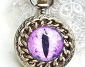 Dragon eye pocket  watch, steampunk dragon eye pocket watch in antique bronze