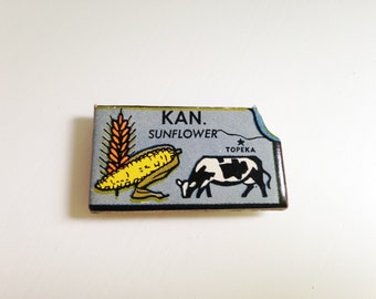 Kansas magnet made from vintage puzzle piece