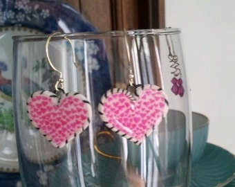 polymer clay heart earrings about 1inch dangle with a Christian cross on the back OOAK