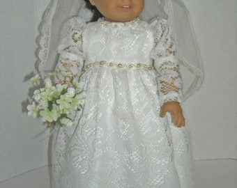 """American Girl 18"""" Doll Lace Wedding or First Communion Gown and Accessories"""