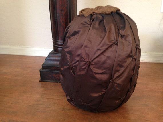 Elegant Pumpkin wrapped in Brown Fabric, Fall Decor, Fall Pumpkin, Fall Wedding, Pumpkin Decor, Neautral Fall Decor