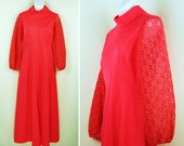 Vintage 1960's – 70's MAXI Hot Coral Empire Dress with Lace sleeves MOD Hippie