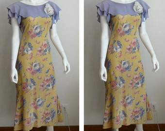 1930's Silk Floral Day Dress