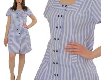 Striped Nautical dress sailor dress Bohemian Blue dress 80s pinstripe short sleeve Boho Navy blue mini dress  retro dress  L Large