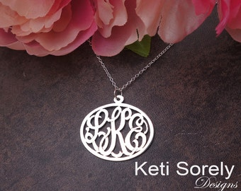 10K White Gold -Handmade Oval Monogram Necklace With Personalized Initials - Small To Large Size (Order Any Initials)