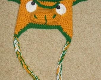 Crocheted Newborn NDSU Bison hat / North Dakota State University Bison crochet baby hat Handmade