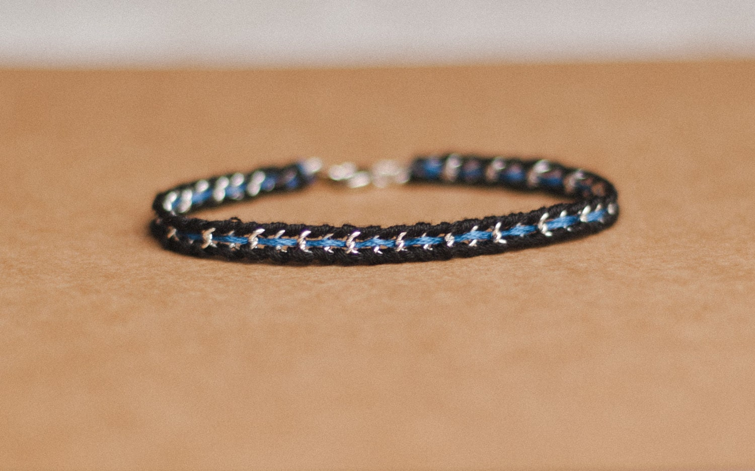 thin blue line woven silver or gold chain bracelet law. Black Bedroom Furniture Sets. Home Design Ideas