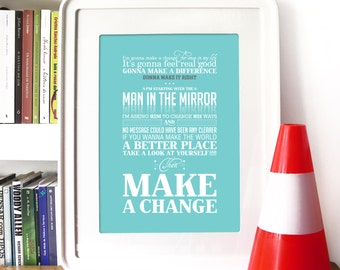 Michael Jackson Man in the Mirror Poster Typography art print Poster Hope for a better world motivational inspirational Poster typography