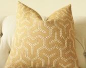 "SALE 25.00 18"" Gold Pillow - Harvest Gold - Gometric Pillow Cover  - Designer Throw Pillow"