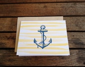 Antique Anchor Engraving with Watercolor Stripe Folded Notecards // Set of 6