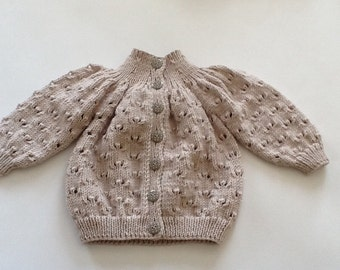Retro style baby cardigan, Yoked baby sweater, Vintage style hand knitted baby sweater. Made to order.