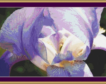 Lavender Iris Cross Stitch Pattern