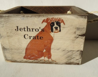 Personalized Country Farmhouse Syle Rustic Dog Toy Box Crate