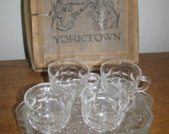 Vintage Glass Snack Set  4 Cups, 4 Plates, Federal Glass Co.,