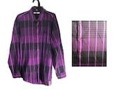 Vintage Purple and Black Striped Shirt // 80s shirt, 90s shirt, 80s clothes, 90s clothes, 80s clothing, 90s clothing, preppy shirt