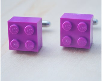 Wedding Cufflinks With Lego Bricks - Father's Day 2016 - Light Purple Cufflinks - Hipster Groomsmen Cuff Links
