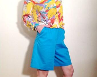 Vintage Donnkenny Electric-blue Shorts Size 8