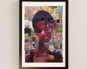 Mixed Media Portrait by Award Winning UK Artist / Sao Paulo Print / Collage Wall Art / Abstract Mixed Media