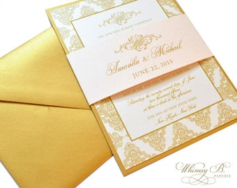 Champagne and Gold Wedding Invitations, Vintage Wedding Invitation, Customized Elegant Wedding Invitation, Blush Gold Wedding Invitations
