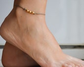 Gold nuggets anklet, brown ankle bracelet with matt gold nugget beads cubes, geometric dainty anklet, minimalist jewelry, gift for her