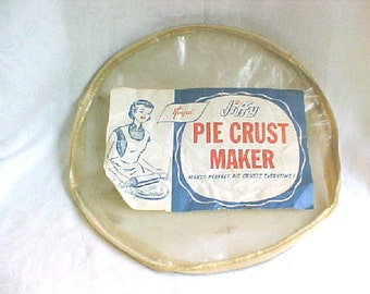 Jiffy Pie Crust Maker - Vintage Plastic Sleeve for forming Perfect Pastry Circles - Baking Supply - Gag Wedding Shower Gift - Orininal Label