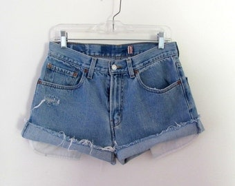 vintage LEVIS cut off blue jean denim shorts distressed, levis cufoff's