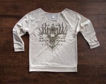 Crowned Stag Deer Bust Printed in Creamy Cocoa Brown on an Ivory Raw Edge 3/4 length sleeve Sweatshirt