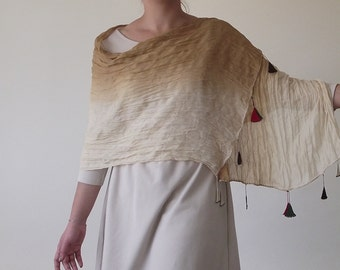 Cotton Scarf, Tie Dye Ombre Scarf, Wrinkled Wrap Scarf, Crochet Oya Scarf, Beaded Scarf, Oya Lace Foulard, Women's Gift, Christmas Gift