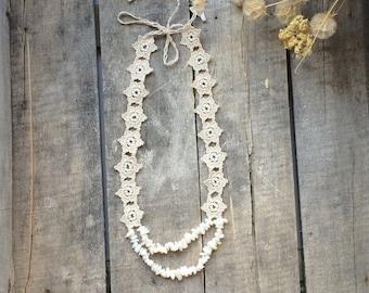 Natural Statement Necklace, Beaded Crochet Necklace, Oya Lace Collar, Flower Bib necklace, Crochet Jewelry, Women's Gift, ReddApple