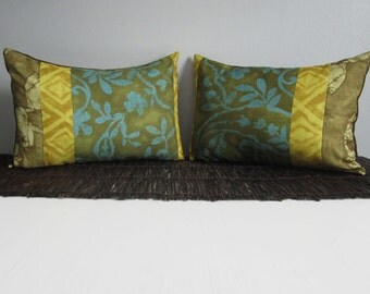 Batik Turquoise & Olive Decorative Throw Pillow Covers Set of Two 12x18