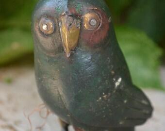 Sergio Bustamante Owl, Mid-Century Modern 1960s Carved Copper, Brass, and Wood Folk Art Figurine, Bird Sculpture, Unique Hand Carved Owl