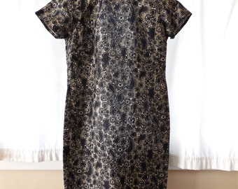 Vintage 50s Cheongsam Dress in Black Silk Paisley and Flower Print with Mandarin Collar OOAK Custom Made