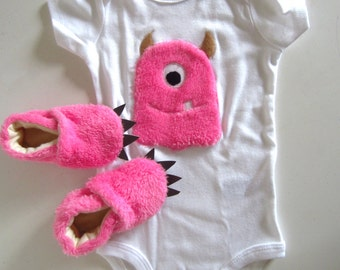 Baby Pink Furry Monster Baby Shower Gift Set ON SALE