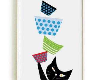 Black cats in the circus 3 - Cat poster  - art print by nicemiceforyou