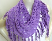 Lavender Shawl, Triangle Shawl with fringe, Purple Shawl, Crochet Shawl, Hippie Shawl, Gifts for Her, Triangle Scarf, Handmade in the USA