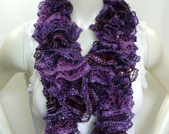 Ruffle Scarf with Sequins, Purple Sequined Scarf, Violet Scarf, Hand Knit Ruffle Boa, Womens Scarves