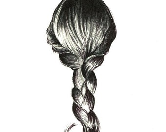 "Girl's Braid art print of an original drawing available 5x7"" or 8x10"