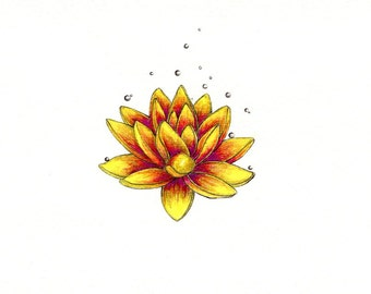 """Lotus Flower art print of an original drawing available 5x7"""" or 8x10"""""""